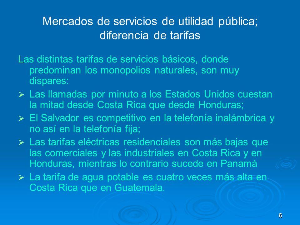 7 Mercados de servicios de utilidad pública; diferencia de tarifas Las diferencias en tarifas pueden reflejar: Condiciones tecnológicas dispares (la energía térmica es más cara que la termoeléctrica, por ejemplo, caso Panamá); o bien el grado de modernización es diferente entre empresas (y países) produciendo el mismo bien.