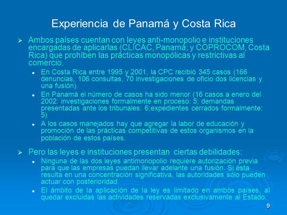 9 Experiencia de Panamá y Costa Rica Ambos países cuentan con leyes anti-monopolio e instituciones encargadas de aplicarlas (CLICAC, Panamá; y COPROCO