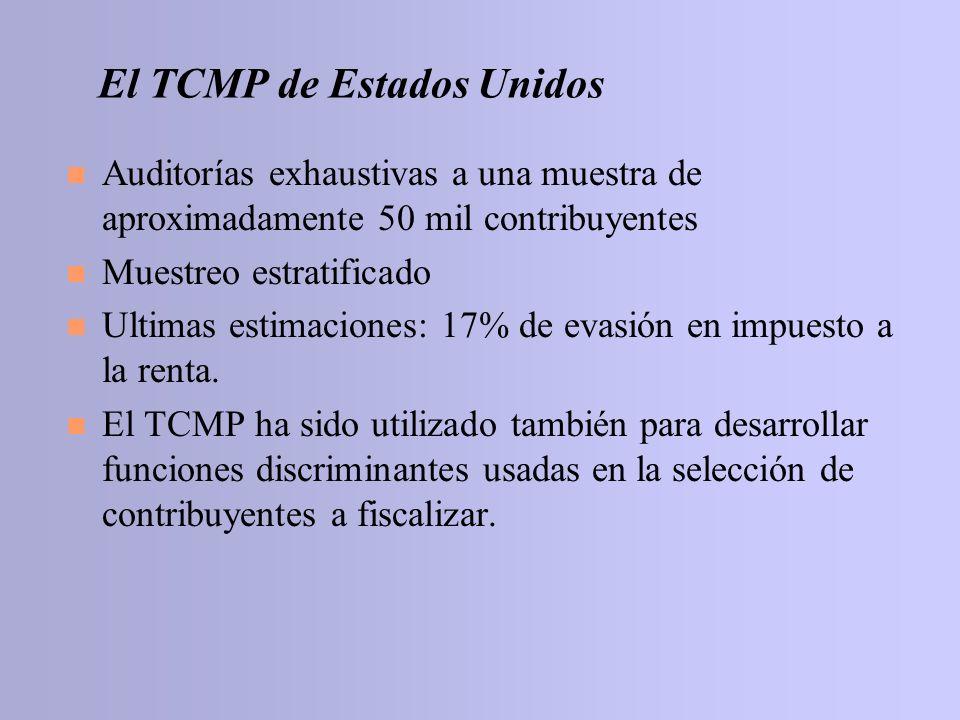 El TCMP de Estados Unidos n Auditorías exhaustivas a una muestra de aproximadamente 50 mil contribuyentes n Muestreo estratificado n Ultimas estimacio