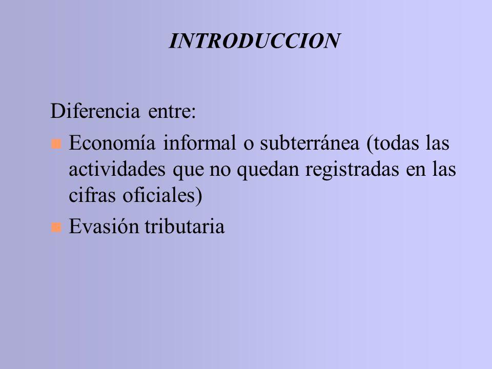 INTRODUCCION Diferencia entre: n Economía informal o subterránea (todas las actividades que no quedan registradas en las cifras oficiales) n Evasión t
