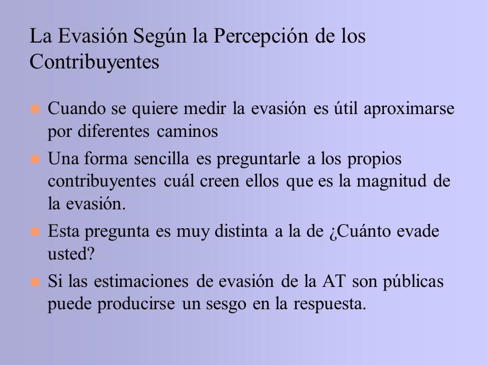 La Evasión Según la Percepción de los Contribuyentes n Cuando se quiere medir la evasión es útil aproximarse por diferentes caminos n Una forma sencil