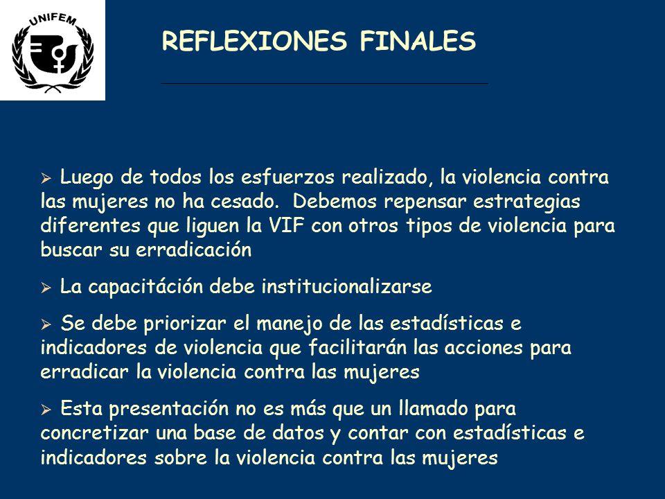 REFLEXIONES FINALES Luego de todos los esfuerzos realizado, la violencia contra las mujeres no ha cesado.