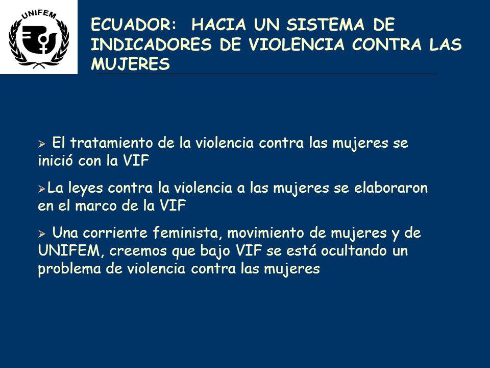 ECUADOR: HACIA UN SISTEMA DE INDICADORES DE VIOLENCIA CONTRA LAS MUJERES El tratamiento de la violencia contra las mujeres se inició con la VIF La leyes contra la violencia a las mujeres se elaboraron en el marco de la VIF Una corriente feminista, movimiento de mujeres y de UNIFEM, creemos que bajo VIF se está ocultando un problema de violencia contra las mujeres