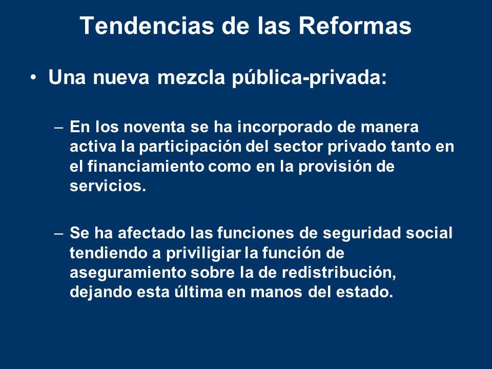 Tendencias de las Reformas Una nueva mezcla pública-privada: –En los noventa se ha incorporado de manera activa la participación del sector privado ta