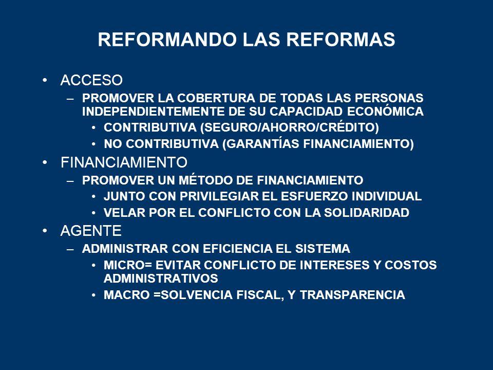 REFORMANDO LAS REFORMAS ACCESO –PROMOVER LA COBERTURA DE TODAS LAS PERSONAS INDEPENDIENTEMENTE DE SU CAPACIDAD ECONÓMICA CONTRIBUTIVA (SEGURO/AHORRO/C