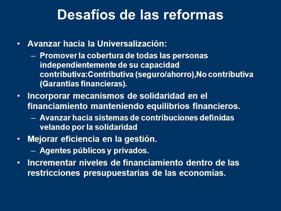 Desafíos de las reformas Avanzar hacia la Universalización: –Promover la cobertura de todas las personas independientemente de su capacidad contributi