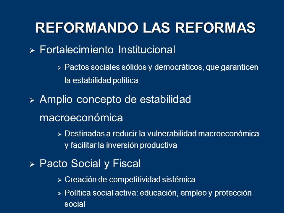 REFORMANDO LAS REFORMAS Fortalecimiento Institucional Pactos sociales sólidos y democráticos, que garanticen la estabilidad política Amplio concepto d