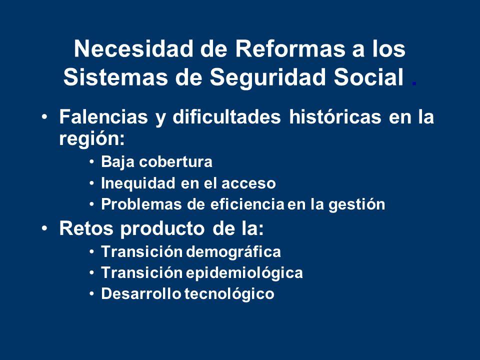 Necesidad de Reformas a los Sistemas de Seguridad Social. Falencias y dificultades históricas en la región: Baja cobertura Inequidad en el acceso Prob