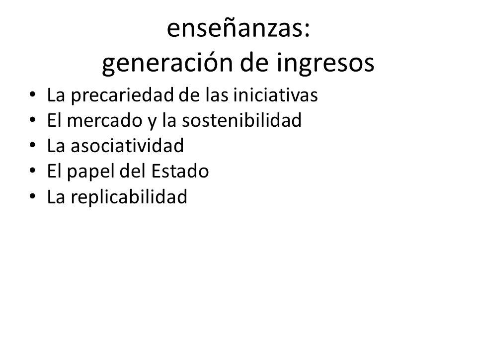 enseñanzas: generación de ingresos La precariedad de las iniciativas El mercado y la sostenibilidad La asociatividad El papel del Estado La replicabilidad