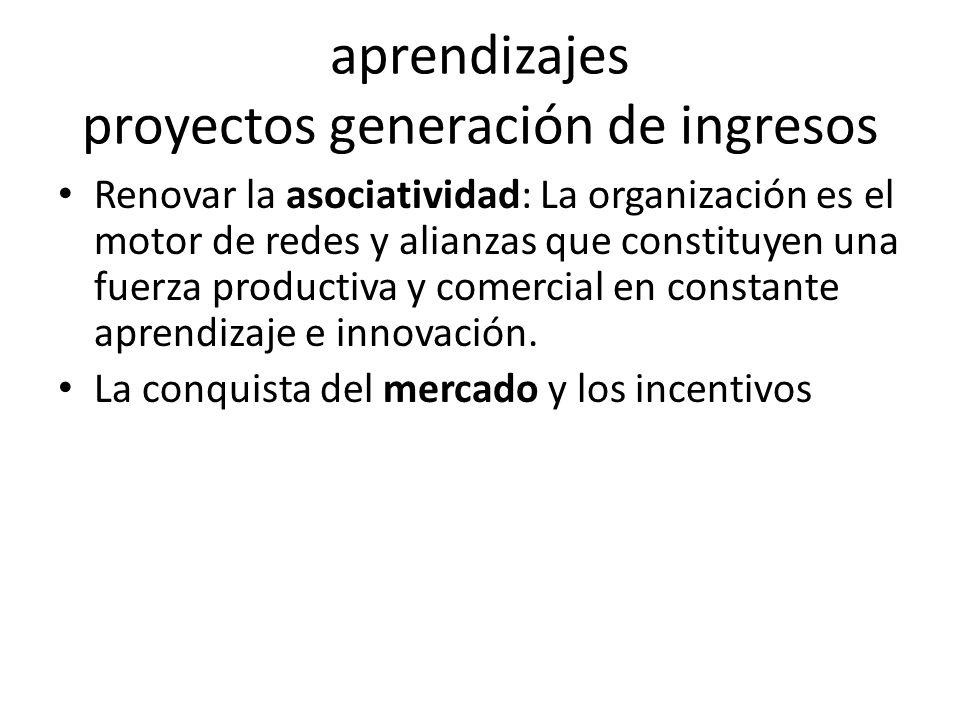 aprendizajes proyectos generación de ingresos Renovar la asociatividad: La organización es el motor de redes y alianzas que constituyen una fuerza productiva y comercial en constante aprendizaje e innovación.