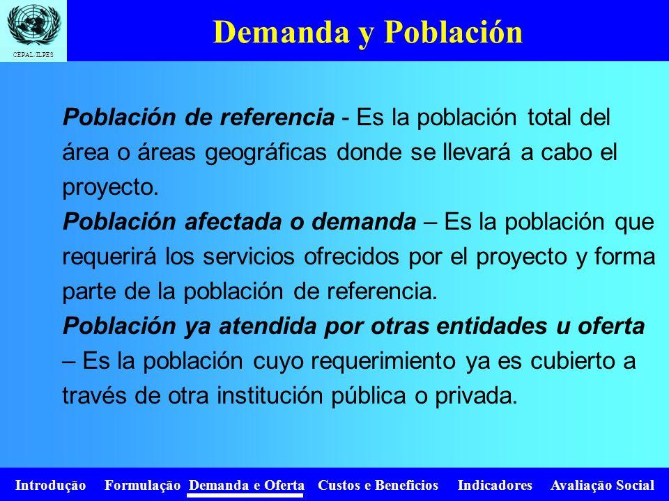 Introdução Formulação Demanda e Oferta Custos e Beneficios Indicadores Avaliação Social CEPAL/ILPES Población de Referencia (PR) (Población Global) Po