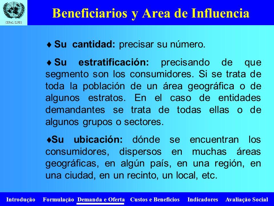 Introdução Formulação Demanda e Oferta Custos e Beneficios Indicadores Avaliação Social CEPAL/ILPES Debe determinarse las características relevantes d