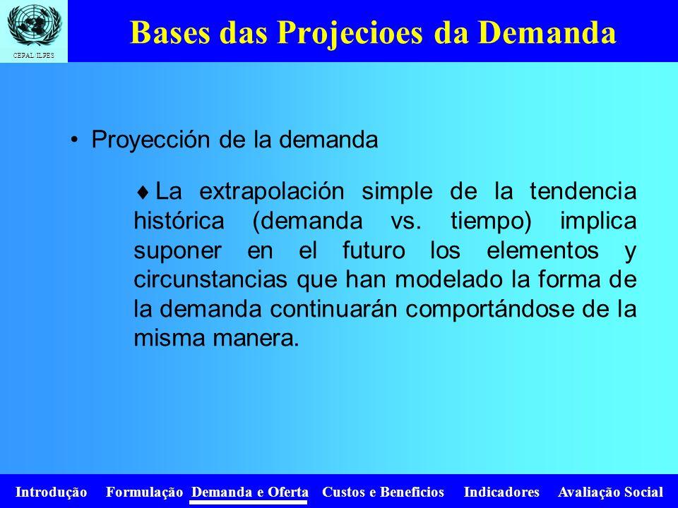 Introdução Formulação Demanda e Oferta Custos e Beneficios Indicadores Avaliação Social CEPAL/ILPES Las características de proyección de la demanda se