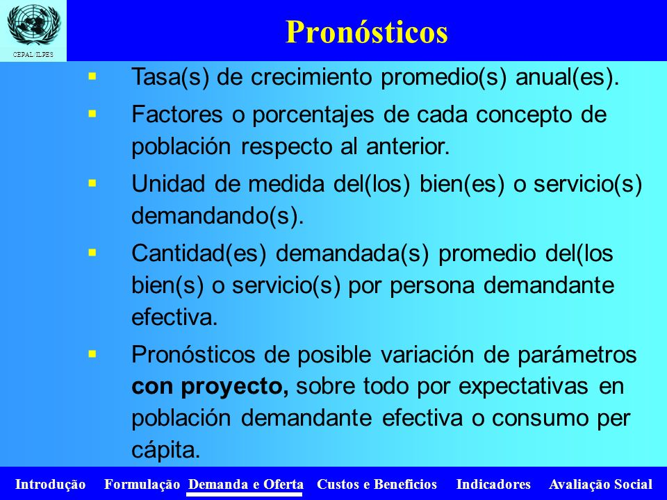Introdução Formulação Demanda e Oferta Custos e Beneficios Indicadores Avaliação Social CEPAL/ILPES Proyección de la demanda Demanda sin proyecto y co