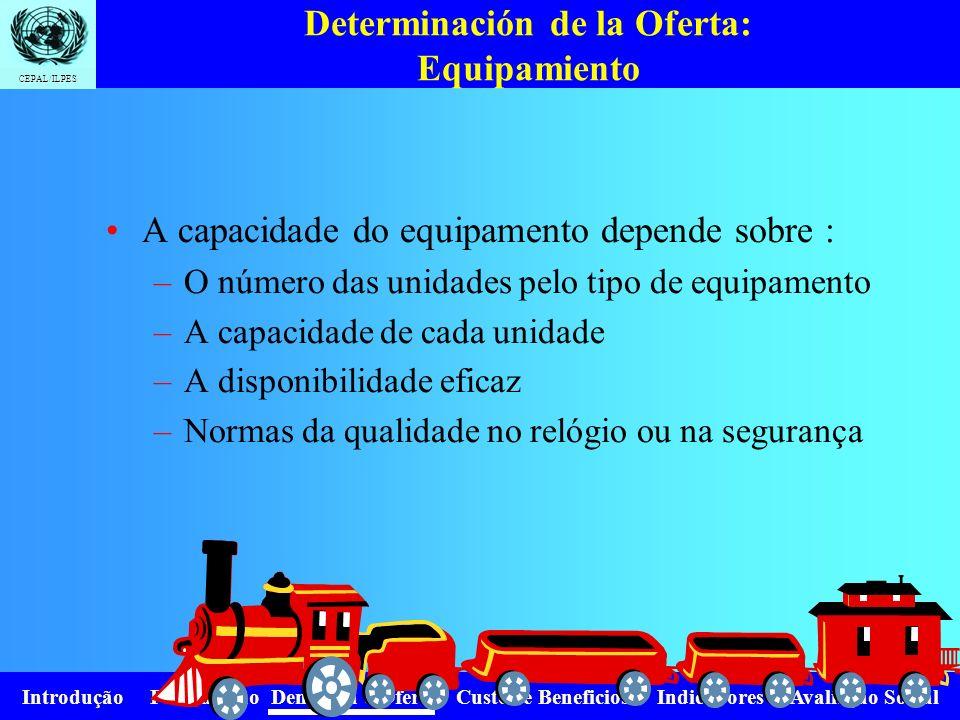 Introdução Formulação Demanda e Oferta Custos e Beneficios Indicadores Avaliação Social CEPAL/ILPES Determinación de la Oferta: Infraestructura A capa
