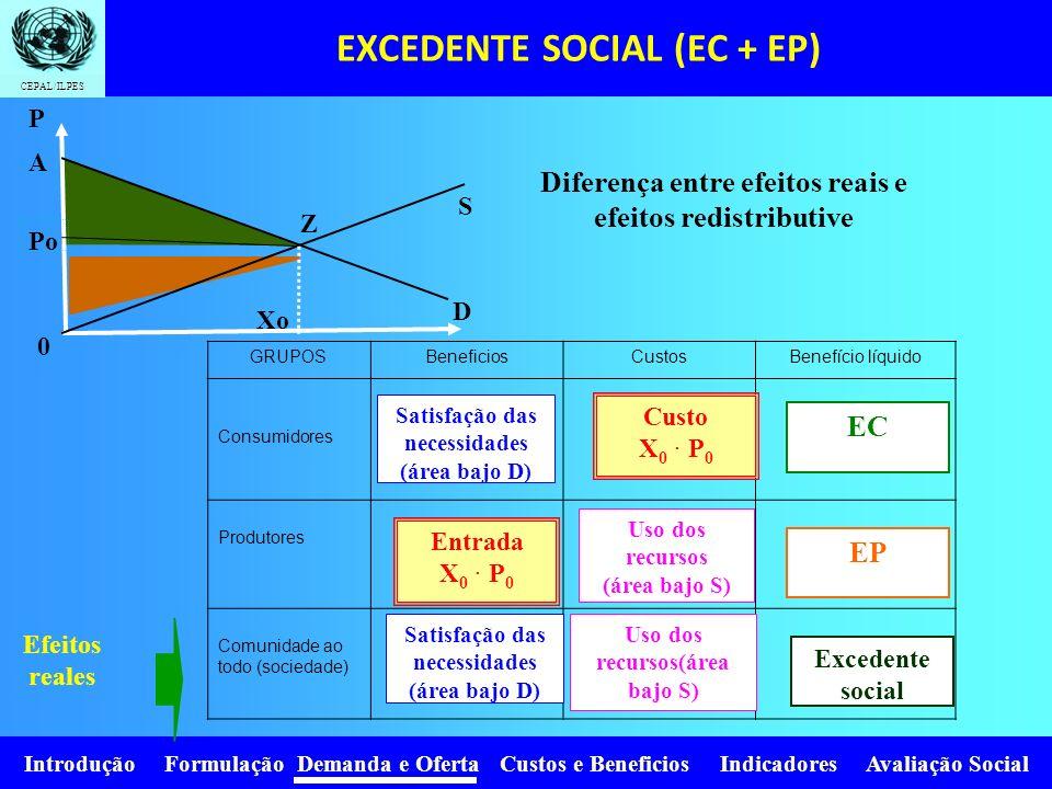 Introdução Formulação Demanda e Oferta Custos e Beneficios Indicadores Avaliação Social CEPAL/ILPES EFEITOS REAIS: são as mudanças em uma quantidade d