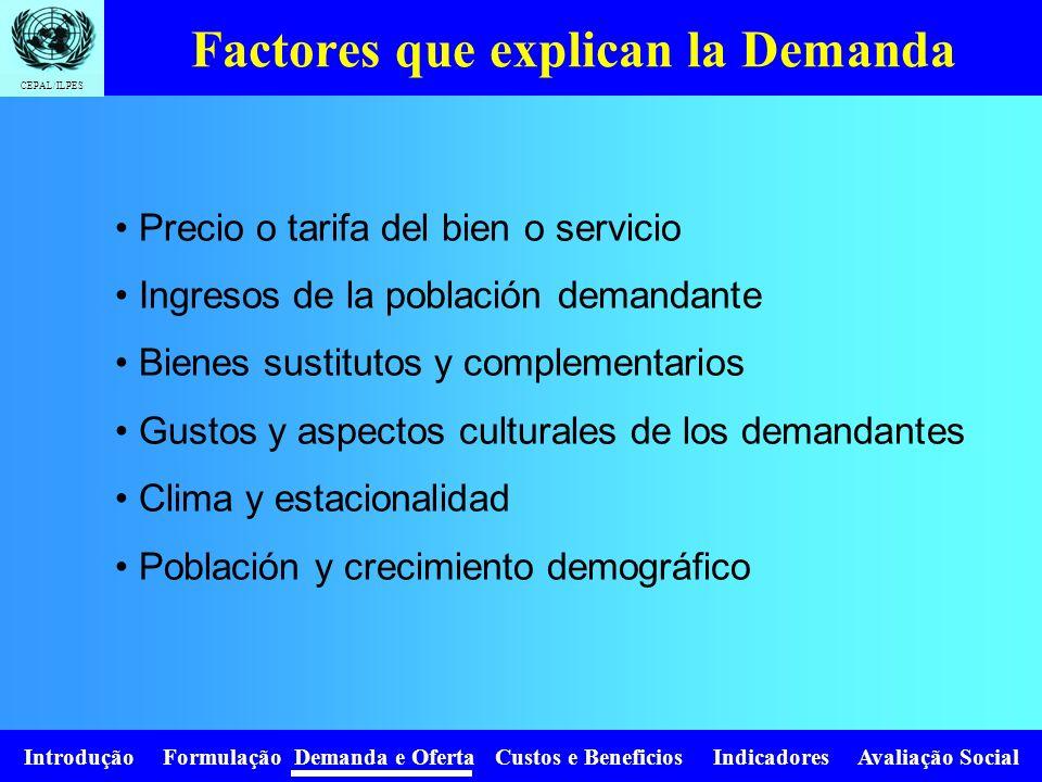 Introdução Formulação Demanda e Oferta Custos e Beneficios Indicadores Avaliação Social CEPAL/ILPES TRES (3) GRANDES TEMAS: La magnitud de la demanda