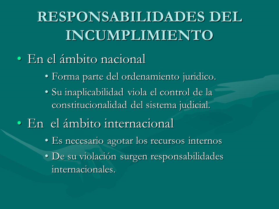 RESPONSABILIDADES DEL INCUMPLIMIENTO En el ámbito nacionalEn el ámbito nacional Forma parte del ordenamiento juridico.Forma parte del ordenamiento jur