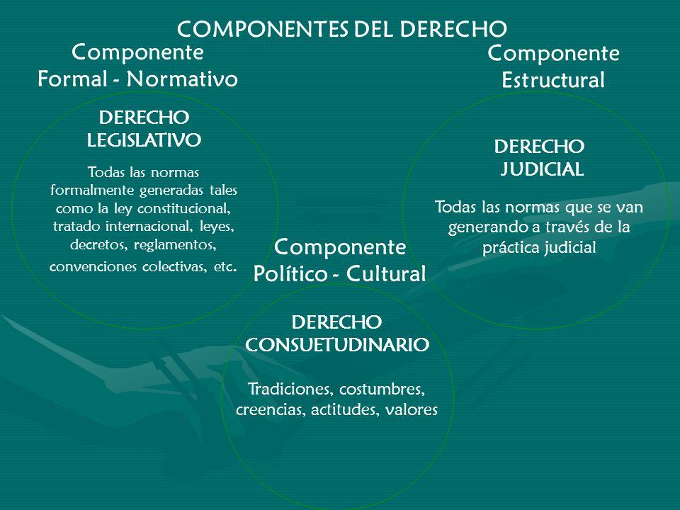 COMPONENTES DEL DERECHO Componente Formal - Normativo DERECHO LEGISLATIVO Todas las normas formalmente generadas tales como la ley constitucional, tra