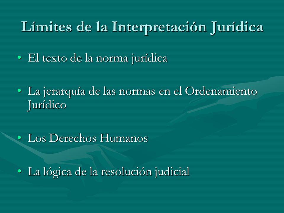 Límites de la Interpretación Jurídica El texto de la norma jurídicaEl texto de la norma jurídica La jerarquía de las normas en el Ordenamiento Jurídic