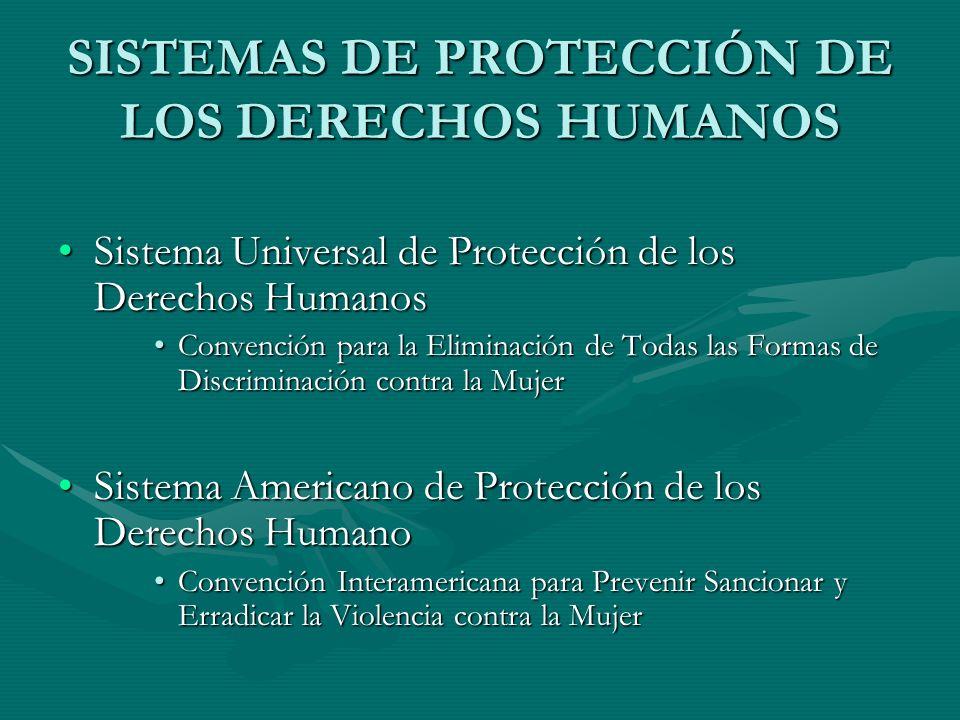 SISTEMAS DE PROTECCIÓN DE LOS DERECHOS HUMANOS Sistema Universal de Protección de los Derechos HumanosSistema Universal de Protección de los Derechos