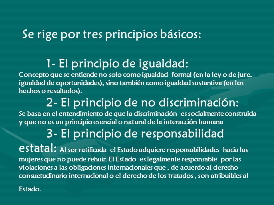 Se rige por tres principios básicos: 1- El principio de igualdad: Concepto que se entiende no solo como igualdad formal (en la ley o de jure, igualdad