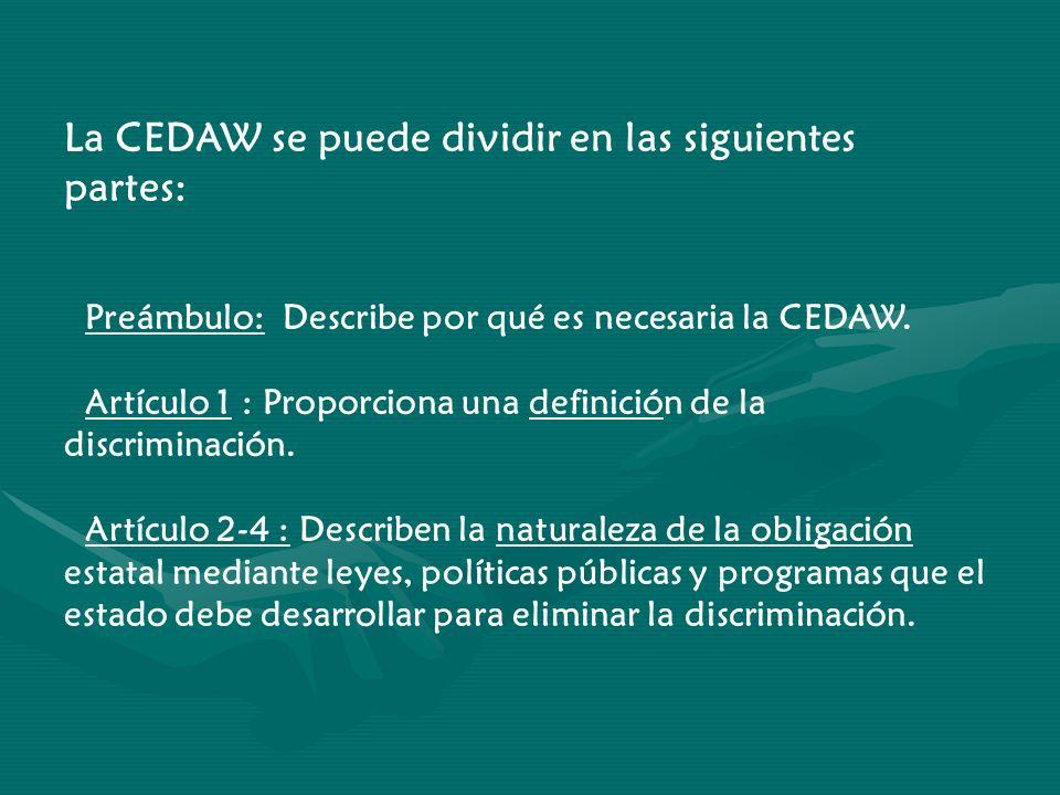 La CEDAW se puede dividir en las siguientes partes: Preámbulo: Describe por qué es necesaria la CEDAW. Artículo 1 : Proporciona una definición de la d
