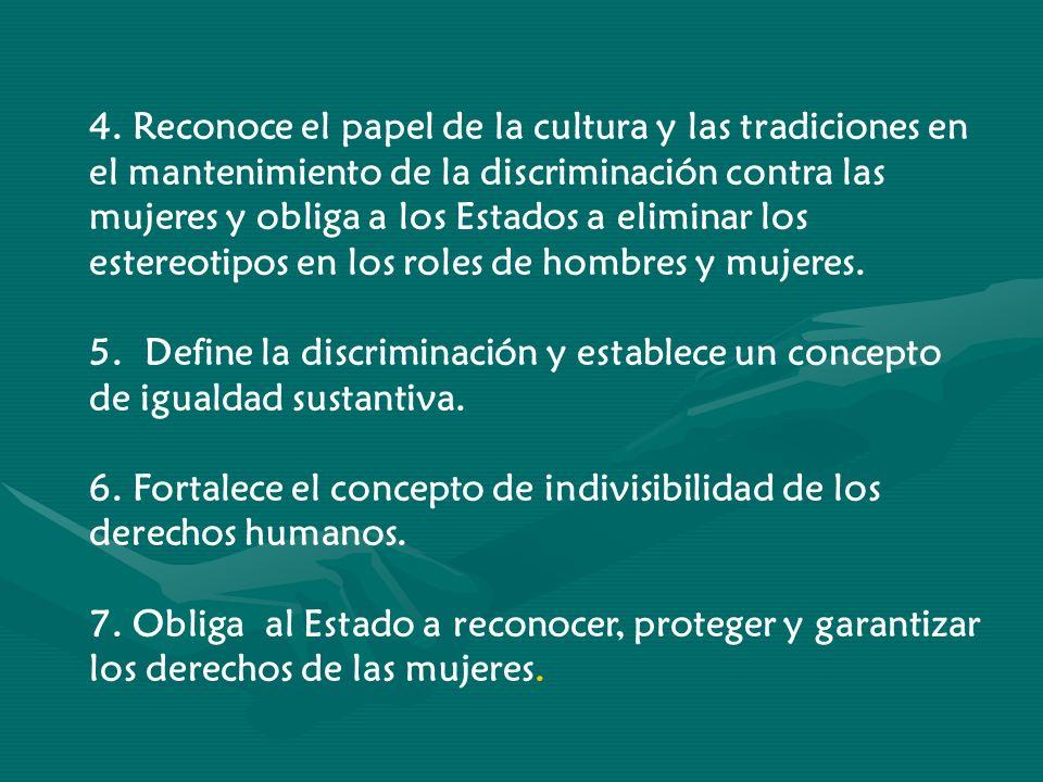 4. Reconoce el papel de la cultura y las tradiciones en el mantenimiento de la discriminación contra las mujeres y obliga a los Estados a eliminar los