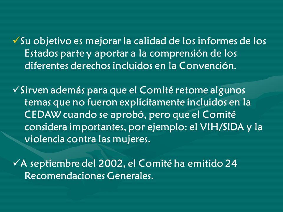 Su objetivo es mejorar la calidad de los informes de los Estados parte y aportar a la comprensión de los diferentes derechos incluidos en la Convenció