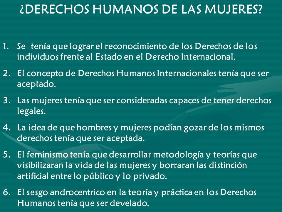 ¿DERECHOS HUMANOS DE LAS MUJERES? 1.Se tenía que lograr el reconocimiento de los Derechos de los individuos frente al Estado en el Derecho Internacion