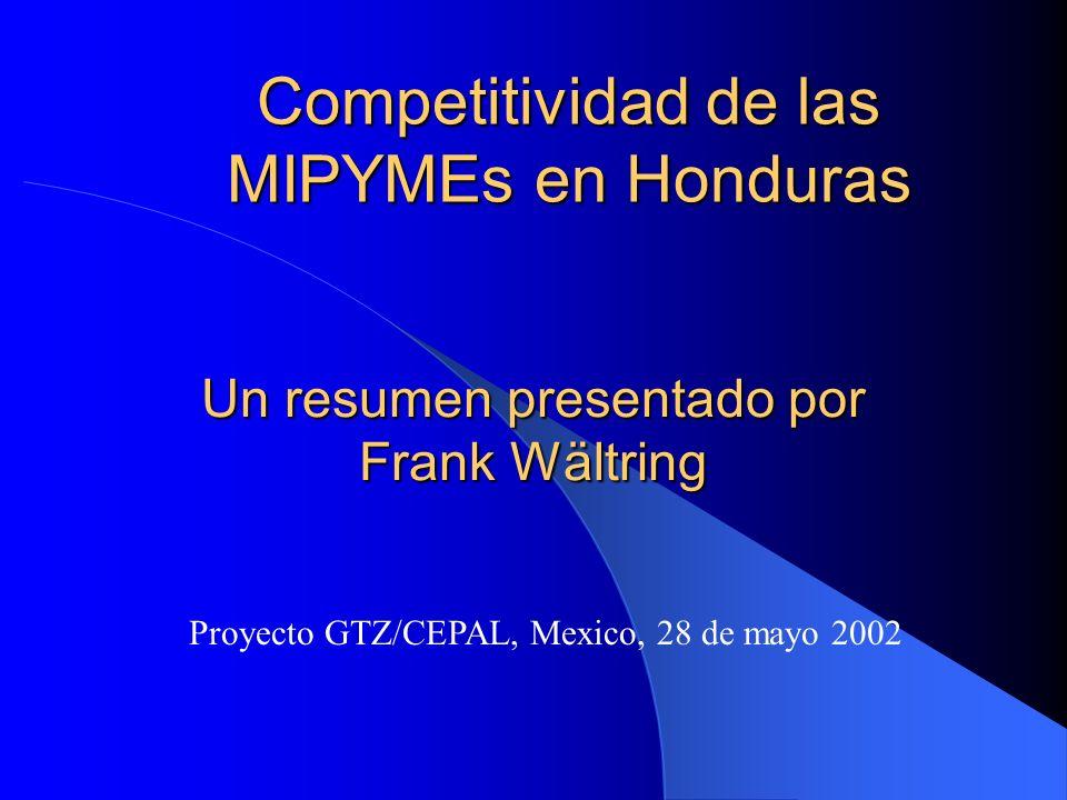 Competitividad de las MIPYMEs en Honduras Proyecto GTZ/CEPAL, Mexico, 28 de mayo 2002 Un resumen presentado por Frank Wältring