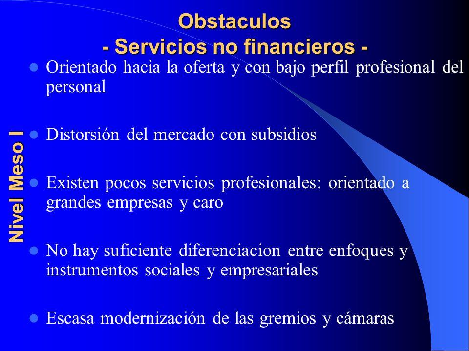 Obstaculos - Servicios no financieros - Orientado hacia la oferta y con bajo perfil profesional del personal Distorsión del mercado con subsidios Exis