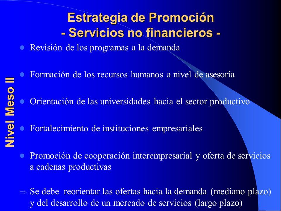 Estrategia de Promoción - Servicios no financieros - Revisión de los programas a la demanda Formación de los recursos humanos a nivel de asesoría Orie