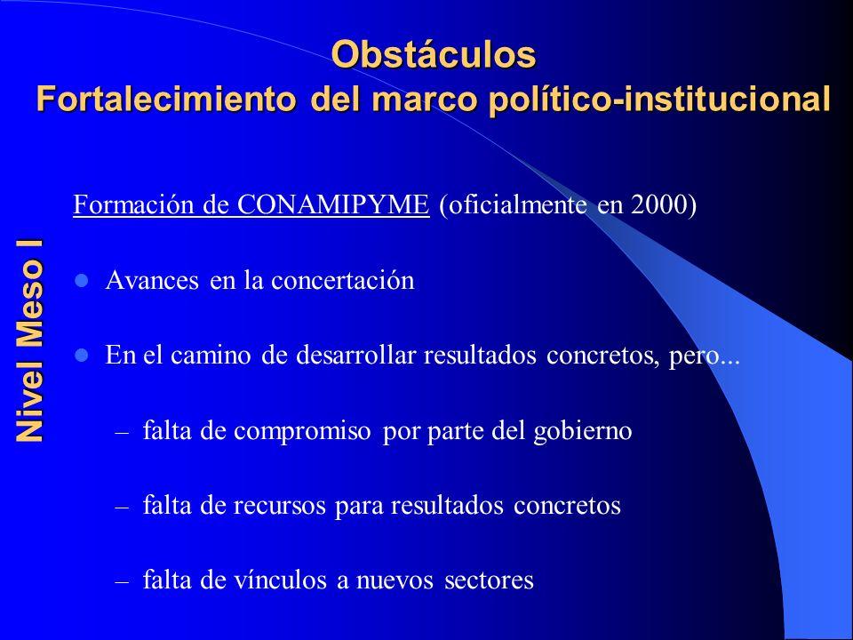 Obstáculos Fortalecimiento del marco político-institucional Formación de CONAMIPYME (oficialmente en 2000) Avances en la concertación En el camino de