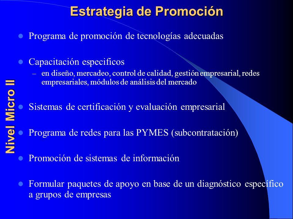 Estrategia de Promoción Programa de promoción de tecnologías adecuadas Capacitación especificos – en diseño, mercadeo, control de calidad, gestión emp