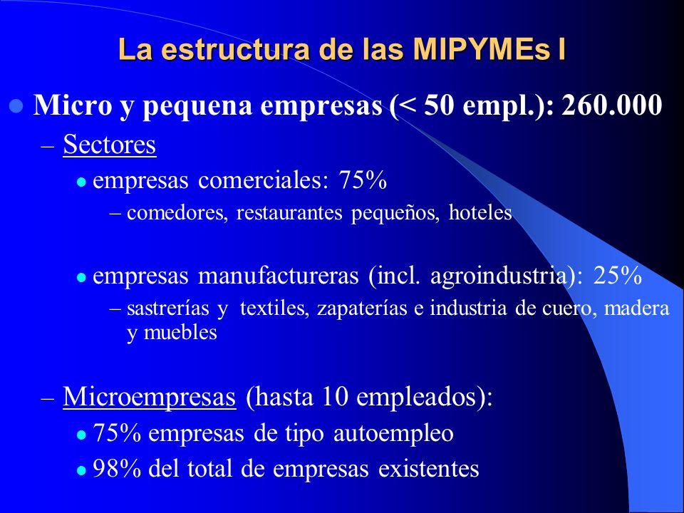 La estructura de las MIPYMEs I Micro y pequena empresas (< 50 empl.): 260.000 – Sectores empresas comerciales: 75% –comedores, restaurantes pequeños,