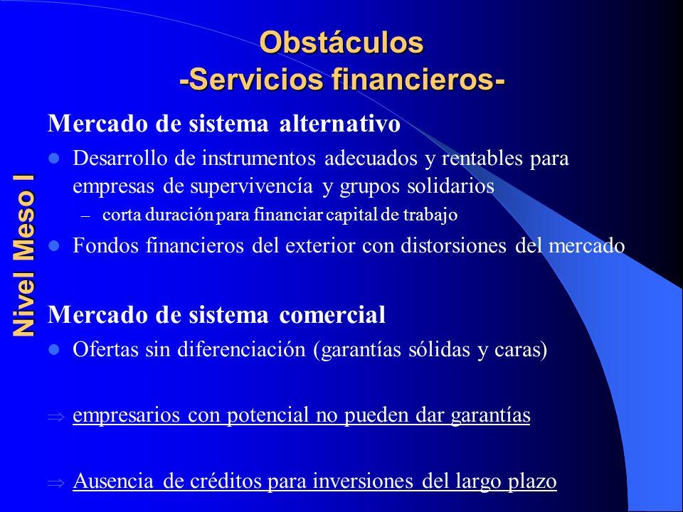 Obstáculos -Servicios financieros- Mercado de sistema alternativo Desarrollo de instrumentos adecuados y rentables para empresas de supervivencía y gr
