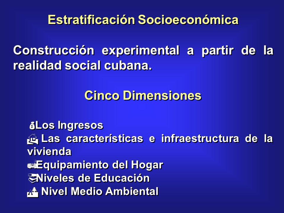 Estratificación Socioeconómica Construcción experimental a partir de la realidad social cubana.