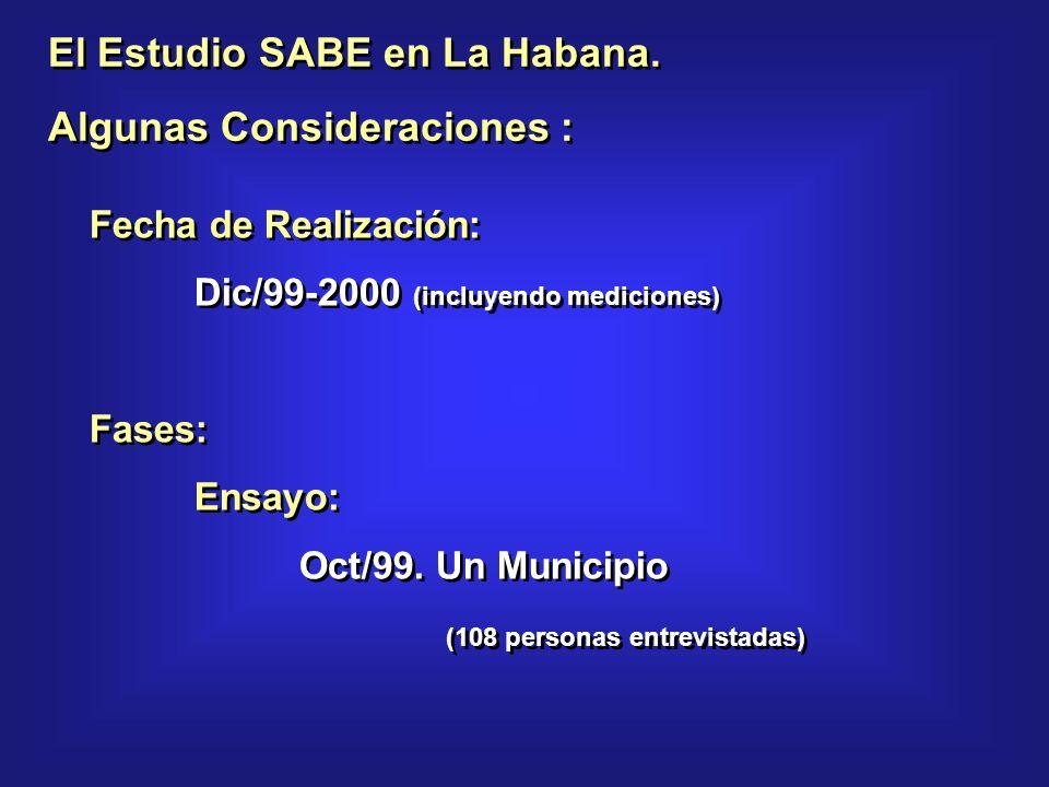 El Estudio SABE en La Habana. Algunas Consideraciones : El Estudio SABE en La Habana.