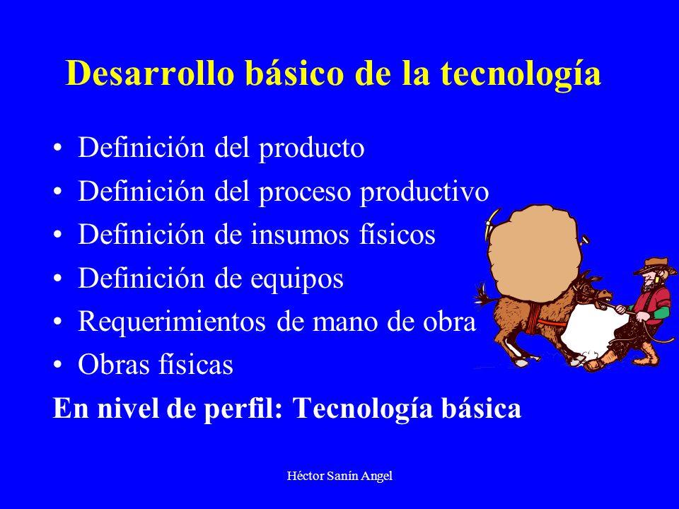 Héctor Sanín Angel Desarrollo básico de la tecnología Definición del producto Definición del proceso productivo Definición de insumos físicos Definici