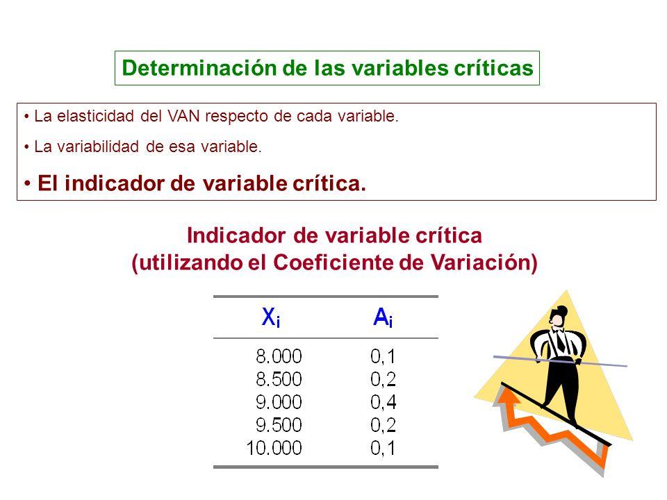 Determinación de las variables críticas Indicador de variable crítica (utilizando el Coeficiente de Variación) La elasticidad del VAN respecto de cada