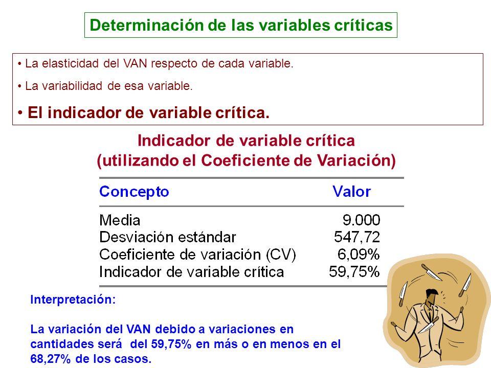 Determinación de las variables críticas Indicador de variable crítica (utilizando el Coeficiente de Variación) Interpretación: La variación del VAN de