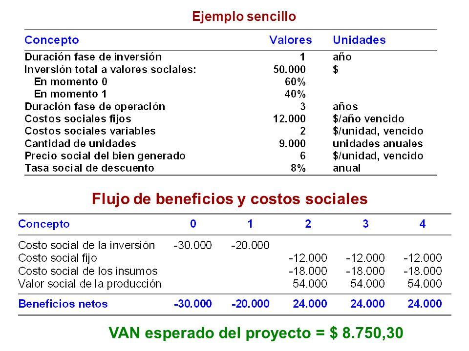 Ejemplo sencillo Flujo de beneficios y costos sociales VAN esperado del proyecto = $ 8.750,30
