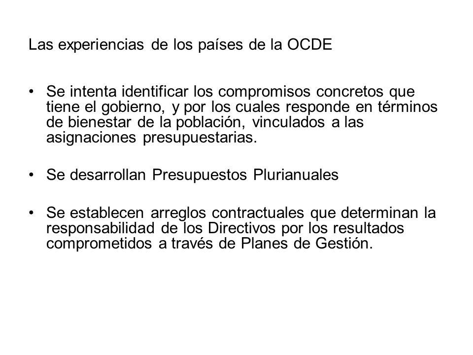 Las experiencias de los países de la OCDE Se intenta identificar los compromisos concretos que tiene el gobierno, y por los cuales responde en término