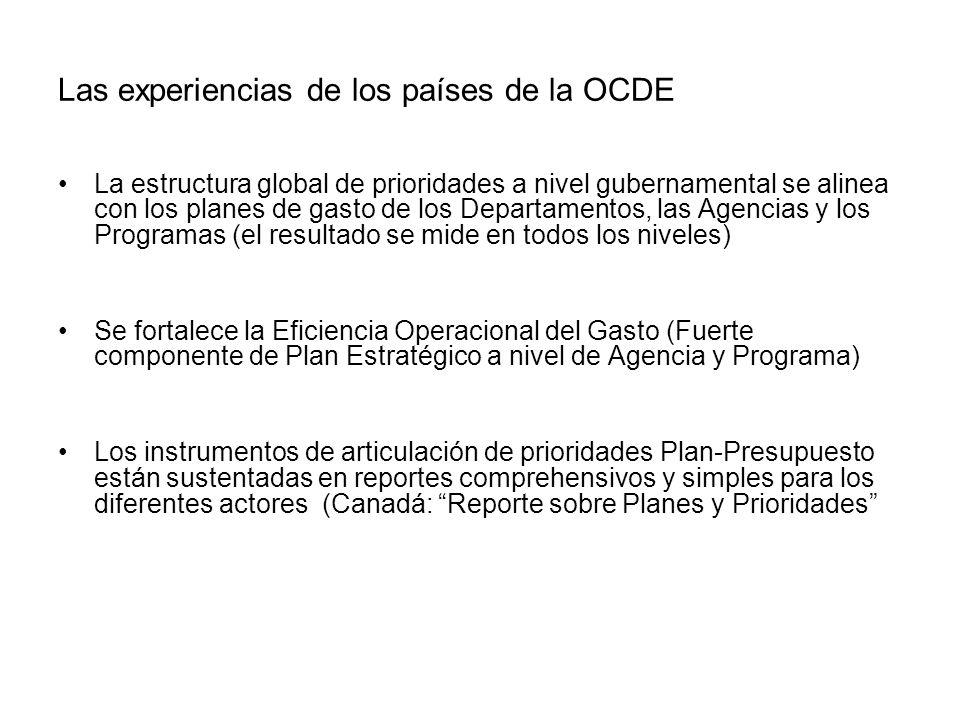 Las experiencias de los países de la OCDE La estructura global de prioridades a nivel gubernamental se alinea con los planes de gasto de los Departame