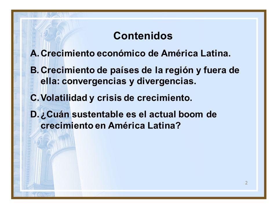2 Contenidos A.Crecimiento económico de América Latina. B.Crecimiento de países de la región y fuera de ella: convergencias y divergencias. C.Volatili