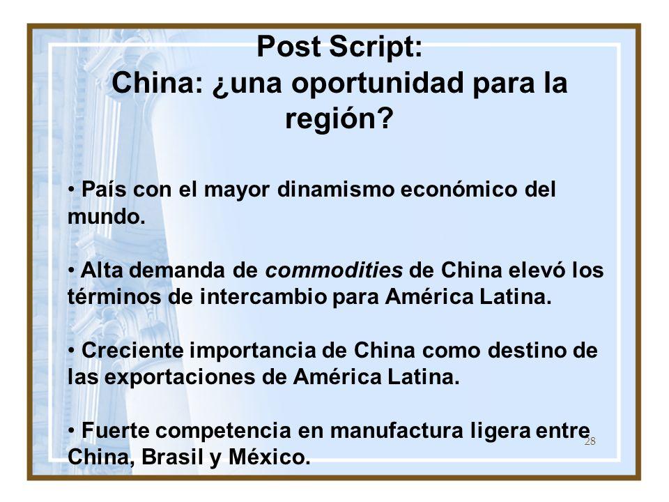28 Post Script: China: ¿una oportunidad para la región? País con el mayor dinamismo económico del mundo. Alta demanda de commodities de China elevó lo