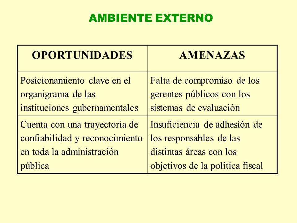 AMBIENTE EXTERNO OPORTUNIDADESAMENAZAS Posicionamiento clave en el organigrama de las instituciones gubernamentales Falta de compromiso de los gerente