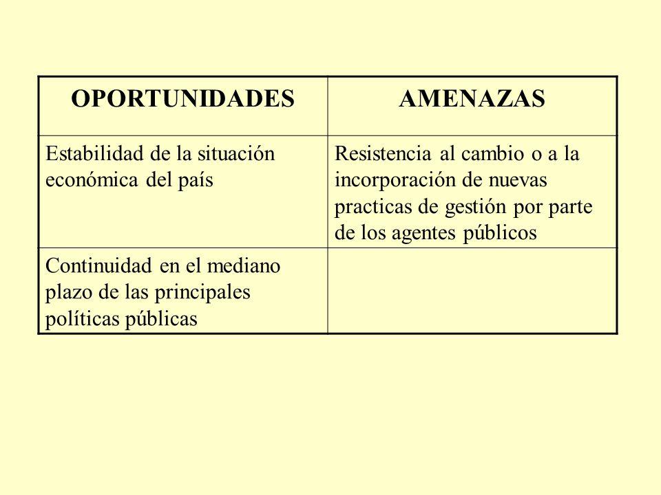 OPORTUNIDADESAMENAZAS Estabilidad de la situación económica del país Resistencia al cambio o a la incorporación de nuevas practicas de gestión por parte de los agentes públicos Continuidad en el mediano plazo de las principales políticas públicas