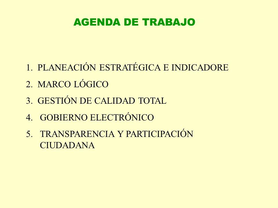 AGENDA DE TRABAJO 1. PLANEACIÓN ESTRATÉGICA E INDICADORE 2. MARCO LÓGICO 3. GESTIÓN DE CALIDAD TOTAL 4.GOBIERNO ELECTRÓNICO 5.TRANSPARENCIA Y PARTICIP